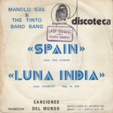 Discos de vinilo: MANOLO GAS Y THE TINTO BAND BANG - SPAIN - SINGLE RARO DE VINILO PROMOCIONAL. Lote 140722534