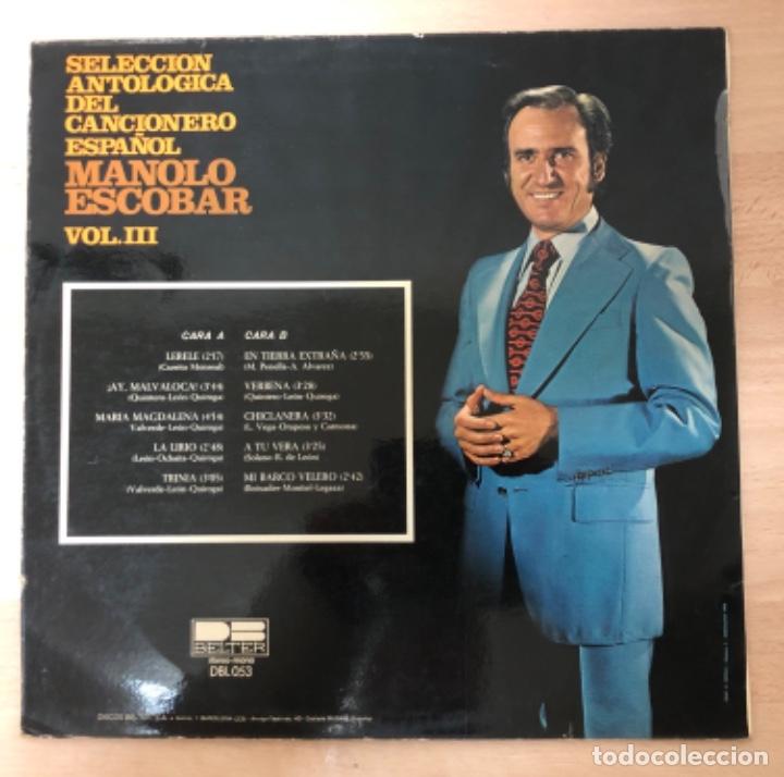 Discos de vinilo: DISCO VINILO LP MANOLO ESCOBAR - Foto 3 - 140839342