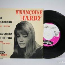 Discos de vinilo: DISCO EP DE VINILO - FRANÇOISE HARDY / J'SUIS D' ACCORD, OH, OH, CHERI... - VOGUE, 1962 - FRANCIA. Lote 140840944