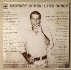 Discos de vinilo: LEONARD COHEN - LIVE SONGS (COMO NUEVO). Lote 140854966