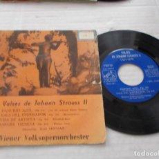 Discos de vinilo: VALSES DE JOHANN STRAUSS II. DANUBIO AZUL, VALS DEL EMPERADOR. VIDA DE ARTISTA. SANGRE VIENESA.. Lote 140970882