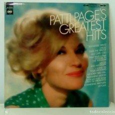 Discos de vinilo: PATTI PAGE'S - GREATEST HITS (LP 1967, CBS S-52504). Lote 140987898