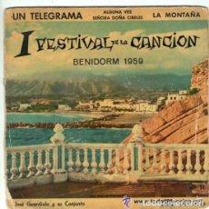 Discos de vinilo: JOSE GUARDIOLA Y SU CONJUNTO, 1ER FESTIVAL DE LA CANCION, BENIDORM 1959. Lote 141028850