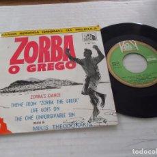 Discos de vinilo: ZORGA O GREGO. ZORBA´S DANCE. LIFE GOES ON, THE ONE UNFORGIVABLE.. Lote 141068790