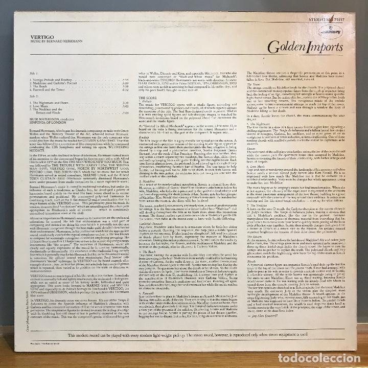 Discos de vinilo: VERTIGO DE ALFRED HITCHCOCK LP BANDA SONORA ORIGINAL MUSICA BERNARD HERRMANN_1977 - Foto 2 - 141438990