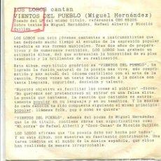 Disques de vinyle: LOS LOBOS / VIENTOS DEL PUEBLO (SINGLE PROMO S/F) SOLO CARA A. Lote 141622786