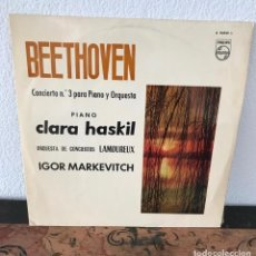 Discos de vinilo: BEETHOVEN CONCIERTO Nº3 ORQUESTA LAMOUREUX DIR.I.MARKEVTICH CLARA HASKIL PIANO. Lote 141758618