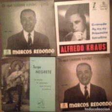 Discos de vinilo: LOTE 4 DISCOS: MARCOS REDONDO, JORGE NEGRETE, ALFREDO KRAUS. Lote 141882274