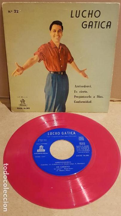 LUCHO GATICA / ARRIVEDERCI / EP - ODEON - 1960 / MBC ***/*** VINILO ROJO !! (Música - Discos de Vinilo - EPs - Grupos y Solistas de latinoamérica)
