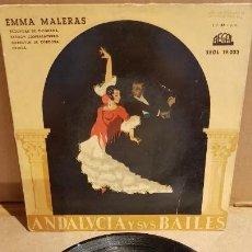 Discos de vinilo: EMMA MALERAS / ANDALUCÍA Y SUS BAILES / EP - REGAL / MBC.***/***. Lote 141886746