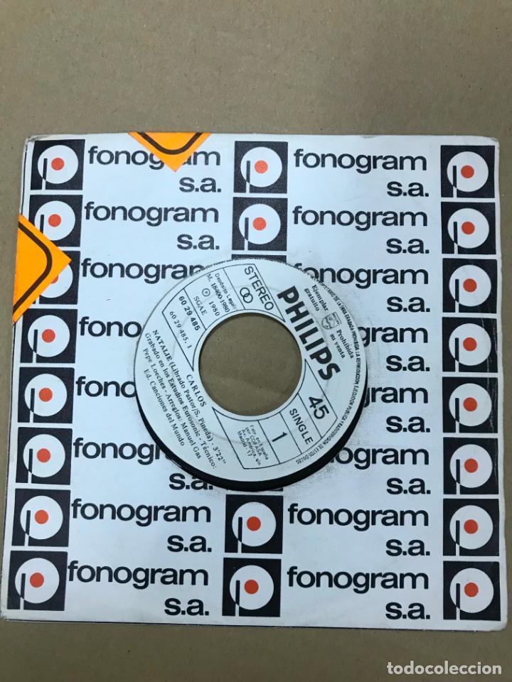 Discos de vinilo: CARLOS / NATALIE (XXI FESTIVAL DE BENIDORM) / SOLOS TU Y YO (SINGLE PROMO 1980) - Foto 3 - 141951706