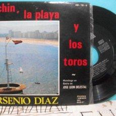 Discos de vinilo: SINGLE ARSENIO DIAZ PACHIN , LA PLAYA Y LOS TOROS MONOLOGO BABLE JOSE LEON ASTURIAS. Lote 142067674