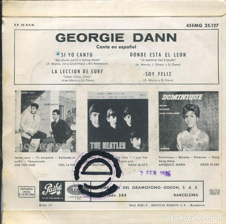 Discos de vinilo: GEORGIE DANN - MISTER SURF (CANTA EN ESPAÑOL) / SI YO CANTO + 3 (EP 1964) - Foto 2 - 142143158