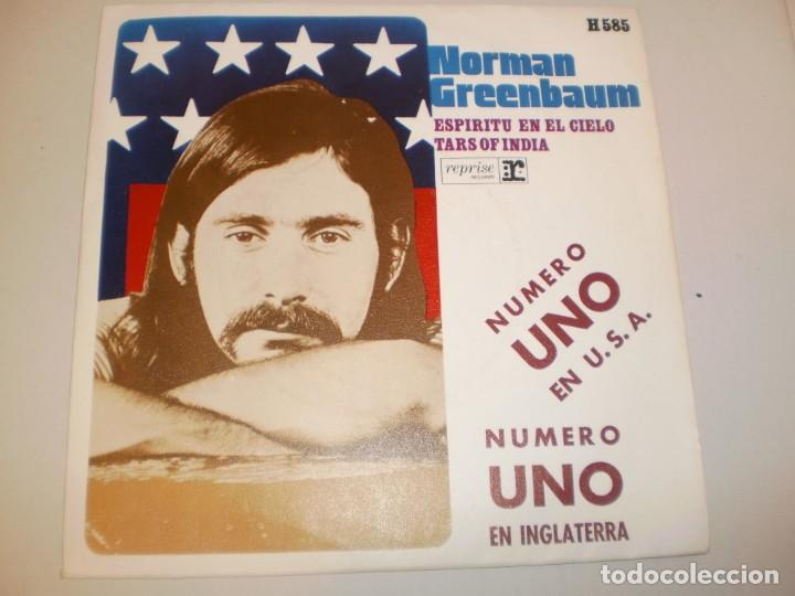 SINGLE NORMAN GREENBAUM. ESPÍRITU EN EL CIELO. TARS OF INDIA. HISPAVOX 1970 SPAIN (PROBADO Y BIEN) (Música - Discos - Singles Vinilo - Pop - Rock - Extranjero de los 70)