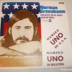 Discos de vinilo: SINGLE NORMAN GREENBAUM. ESPÍRITU EN EL CIELO. TARS OF INDIA. HISPAVOX 1970 SPAIN (PROBADO Y BIEN). Lote 142182158