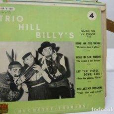 Discos de vinilo: TRIO HILL-BILLY,S -LES COW-BOYS DE L.HARMONICA 1955-MUY RARO-. Lote 142220270