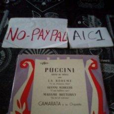 Discos de vinilo: PUCCINI ARIAS DE OPERA CAMARATA Y ORQUESTA. Lote 142322718
