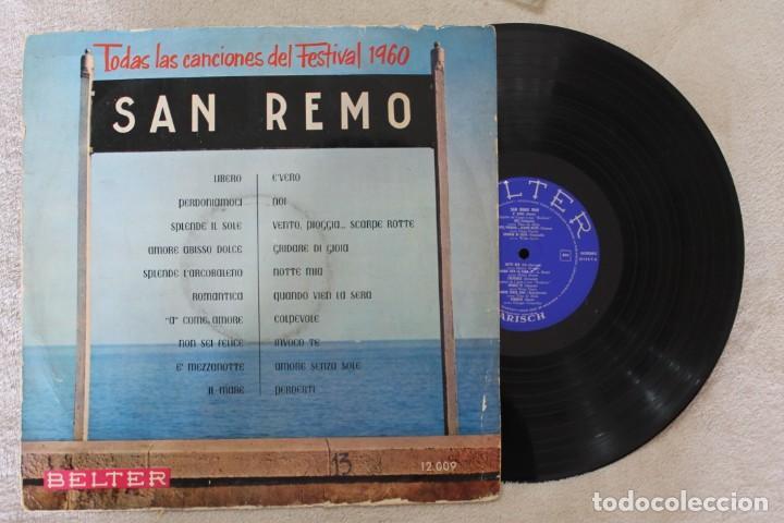 SAN REMO 1960 LP VINY MADE IN SPAIN 1960 (Música - Discos - LP Vinilo - Otros Festivales de la Canción)