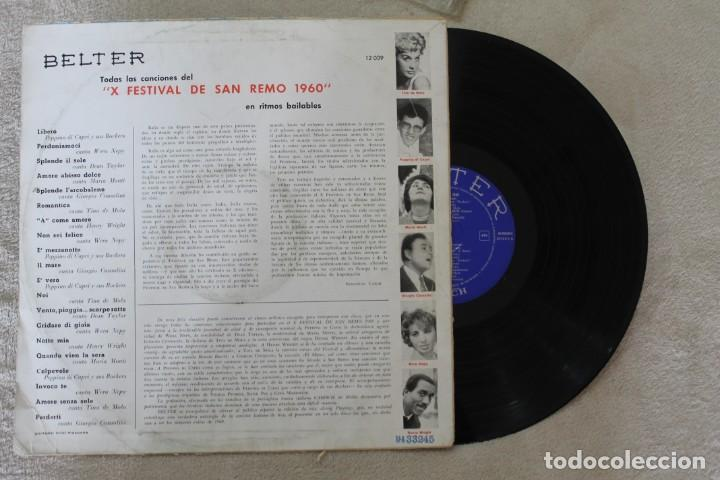 Discos de vinilo: SAN REMO 1960 LP VINY MADE IN SPAIN 1960 - Foto 2 - 142362594