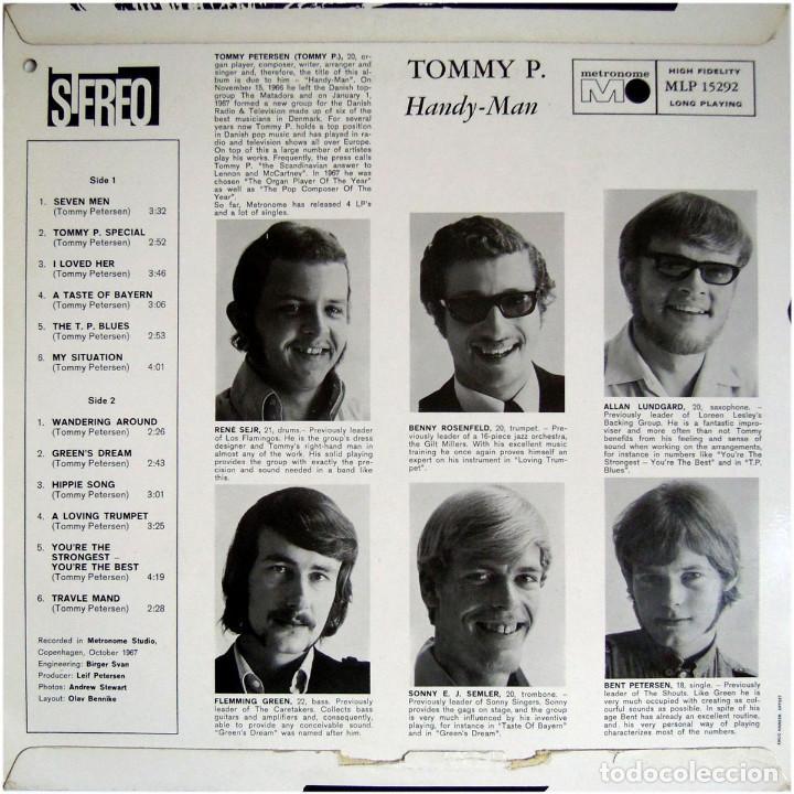 Discos de vinilo: Tommy P. (ex- Rocking Ghosts) – Handy-Man - Lp Denmark 1968 - Metronome MLP 15292 - Foto 2 - 142461950