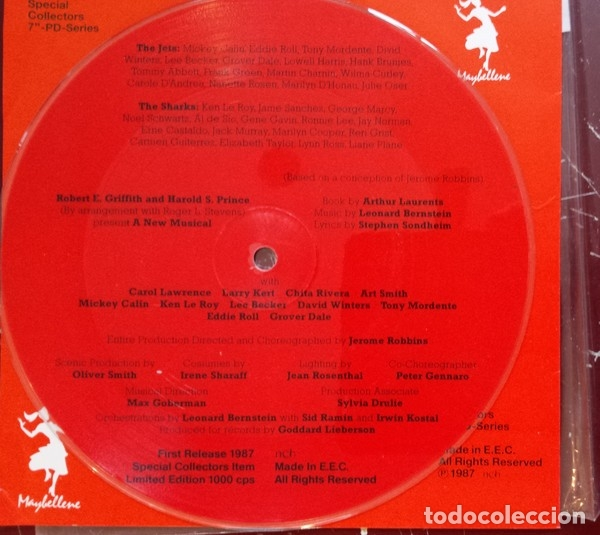 Discos de vinilo: WEST SIDE STORY - SINGLE VINILO PICTURE DISC - LTD 1000 COPIAS - NUEVO - FOTODISCO MUY RARO!! - Foto 4 - 224802920