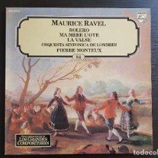 Discos de vinilo: MAURICE RAVEL - BOLERO - LA VALSE - MONTEUX - LP VINILO - GRANDES COMPOSITORES Nº24 - 1981. Lote 142685654
