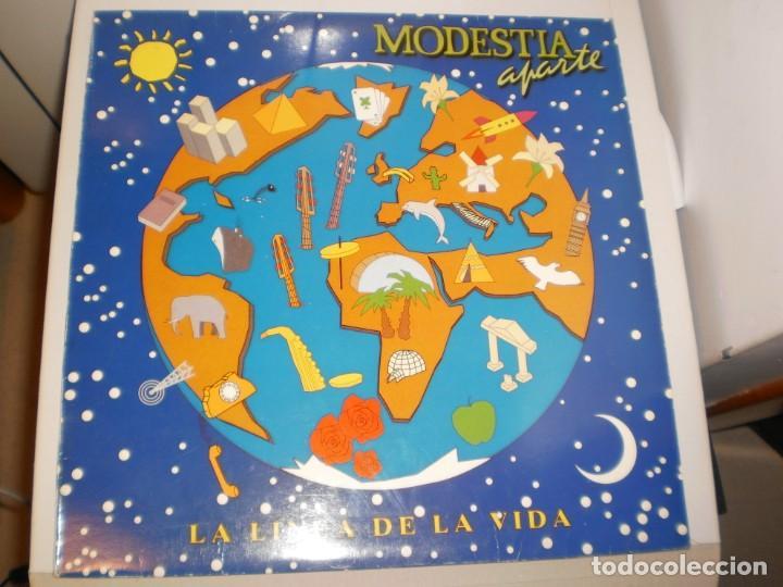 LP MODESTIA APARTE. LA LÍNEA DE LA VIDA. POLYDOR 1992 SPAIN CON FUNDA CON LETRAS (PROBADO Y BIEN) (Música - Discos de Vinilo - EPs - Grupos Españoles de los 90 a la actualidad)