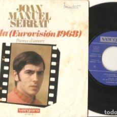Discos de vinilo: JOAN MANUEL SERRAT SINGLE LA LA LA CANTANDO EN ITALIANO. Lote 142712890