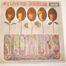 Discos de vinilo: SINGLE ROLLING STONES. FLOWERS. WE LOVE YOU. DABDELION. DECCA 1967 SPAIN (PROBADO Y BIEN). Lote 142723826