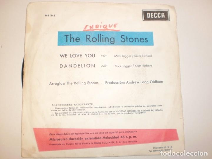 Discos de vinilo: single rolling stones. flowers. we love you. dabdelion. decca 1967 spain (probado y bien) - Foto 2 - 142723826