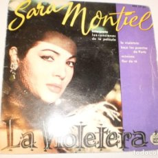 Discos de vinilo: SINGLE SARA MONTIEL. LA VIOLETERA. BAJO LOS PUENTES DE PARÍS. MIMOSA. FLOR DE TÉ. HISPAVOX 1958 . Lote 142725130