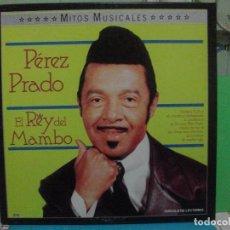Discos de vinilo: PEREZ PRADO EL REY DEL MAMBO MITOS MUSICALES BOX TRIPLE LPS PEPETO. Lote 142737122
