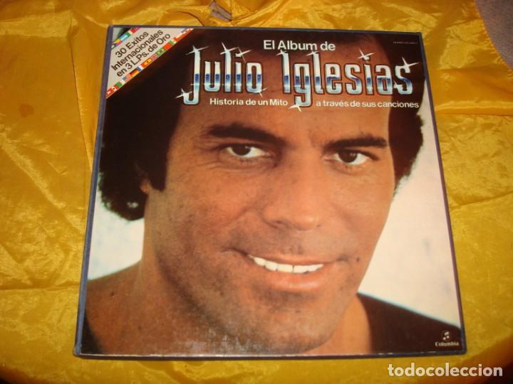 JULIO IGLESIAS. HISTORIA DE UN MITO A TRAVES DE SUS CANCIONES. CAJA CON 3 LP´S. COLUMBIA. IMPEC. (#) (Música - Discos - LP Vinilo - Solistas Españoles de los 50 y 60)
