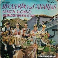Discos de vinilo: RECUERDO DE CANARIAS - AFRICA ALONSO Y AGRUPACIÓN BINCHENI DE TACO - FOLIAS, SEGUIDILLAS, ISAS.... Lote 142924346