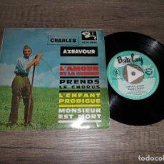 Discos de vinilo: CHARLES AZNAVOUR - L'AMOUR ET LA GUERRE +3. Lote 142972370
