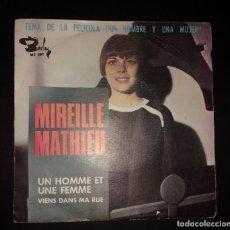 Discos de vinilo: MIREILLE MATHIEU - UN HOMME ET UNE FEMME. Lote 143009430
