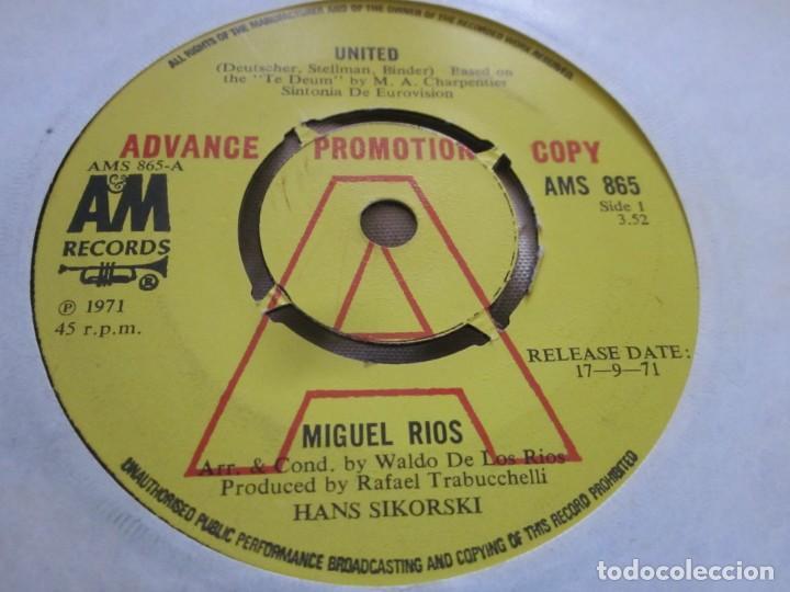 MIGUEL RIOS - UNITED - EDICION PROMOCIONAL INGLESA DEL AÑO 1971 EN EL SELLO AM RECORDS. (Música - Discos - Singles Vinilo - Cantautores Españoles)