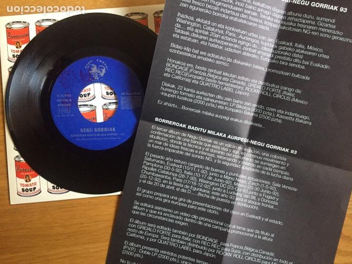 Discos de vinilo: NEGU GORRIAK: BORREROAK BADITU MILA AURPEGI + INSTRUMENTALA (CON LA HOJA DE PROMOCIÓN) - Foto 5 - 143059793
