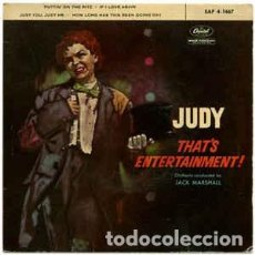 Discos de vinilo: JUDY GARLAND - JUDY! THAT'S ENTERTAINMENT (CAPITOL RECORDS, EAP 4-1467 7'', EPS, SPAIN 1961). Lote 143086982