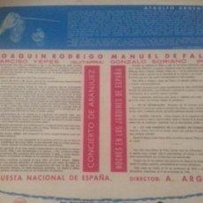 Discos de vinilo: CONCIERTO DE ARANJUEZ- NOCHES DE LOS JARDINES DE ESPAÑA. Lote 143127846