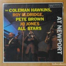 Discos de vinilo: THE COLEMAN HAWKINS, ROY ELDRIDGE, PETE BROWN, JO JONES ALL STARS - AT NEWPORT - LP. Lote 143154158