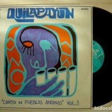 Discos de vinilo: QUILAPAYÚN - CANTO DE PUEBLOS ANDINOS VOL. 3 - LP ESPAÑOL 1975 - ODEON. Lote 143169622