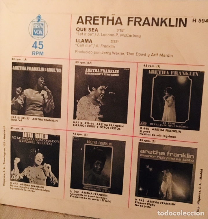 Discos de vinilo: Aretha Franklin. Que sea /Llama - Foto 2 - 143258194