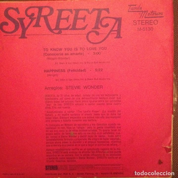 Discos de vinilo: SYREETA: To know you is to love you / Happiness Tamla motown 1972 Ed España STEVIE WONDER - Foto 2 - 143261514