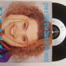 Discos de vinilo: EMMA - GIVE A LITTLE LOVE BACK TO THE WORLD / I DON'T WANNA BE AROUND - SINGLE UK 1990 - . Lote 143404526