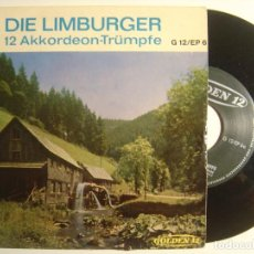 Discos de vinilo: DIE LIMBURGER - 12 AKKORDEON-TRÜMPFE - SINGLE ALEMAN. Lote 143405918