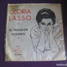 Disques de vinyle: GLORIA LASSO SG LA VOZ DE SU AMO 1963 EL PECADOR/ OCEANO. Lote 143601170
