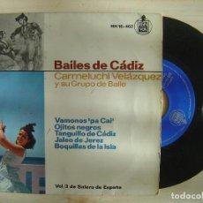 Discos de vinilo: BAILES DE CADIZ - CARMELUCHI VELAZQUEZ - EP 1964 - HISPAVOX. Lote 143719206