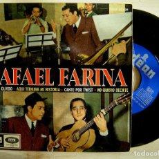 Discos de vinilo: RAFAEL FARINA - TREN DEL OLVIDO / AQUI TERMINA MI HISTORIA / CANTE POR TWIST..EP 1965. Lote 143719702