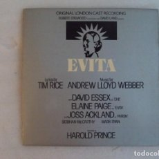 Discos de vinilo: EVITA. ORIGINAL LONDON CAST RECORDING. OPERA ROCK. LP EDICION INGLESA 1978. MCA RECORDS. Lote 143726742